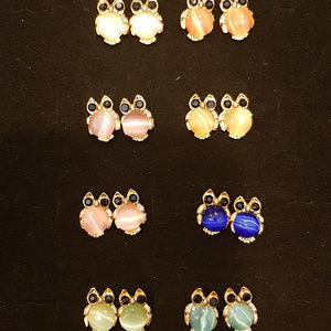 owl earrings with man made opal - 8 pairs